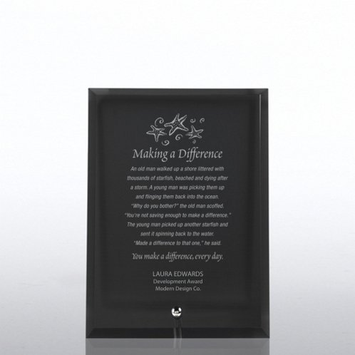 Black Glass Award Character Plaque
